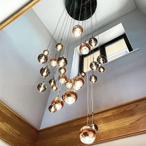 30 Light Cluster Pendant In Copper & Bronze 3M Drop