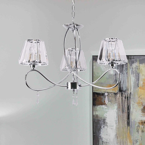 3-Light Polished Chrome Ceiling Lights with Crystal Effect Shades