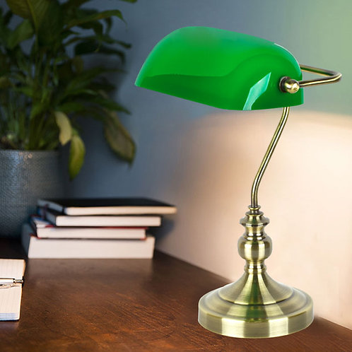 Traditional Bankers Antique Brass Desk Lamp with Green Shade