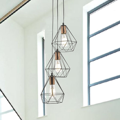 Modern Black and Copper Cluster Pendant