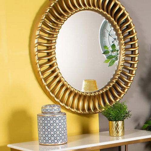 Gold Effect Circular Mirror