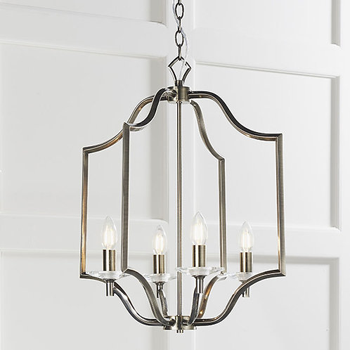 4 Light Pendant in Antique Brass & Crystal