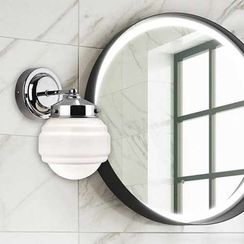 Art Deco Bathroom Wall Light In Polished Chrome