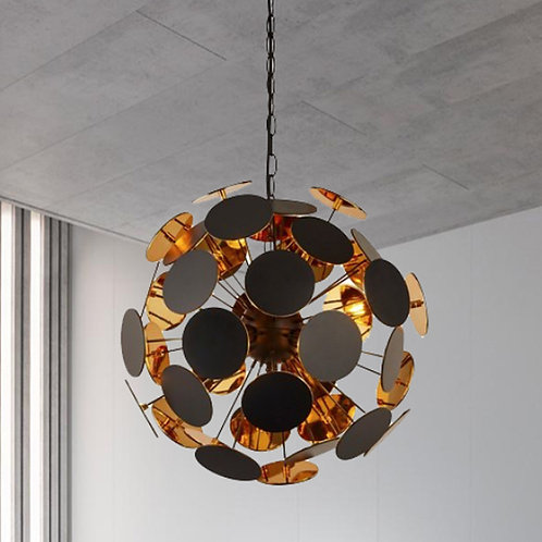 Black and Gold Modern Disc Pendant Light