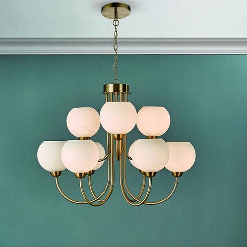 9 Light Natural Brass Pendant With Opal Glass