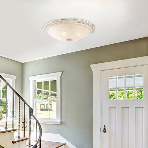 Bronze Frosted Glass Ceiling Lamp with Pattern