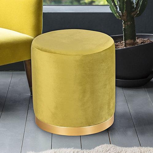 Velvet Mustard and Gold Stool