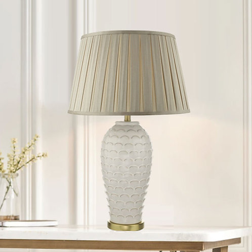 Cream and Gold Patterned Table Lamp