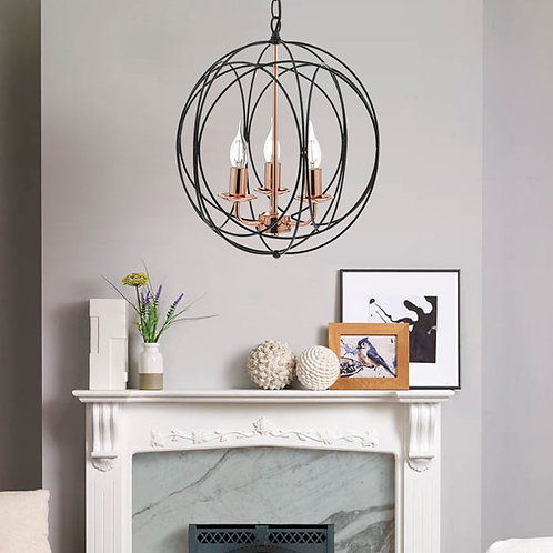 3 Light Ceiling Pendant in Black and Copper