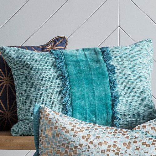 Embellished Velvet Teal Cushion