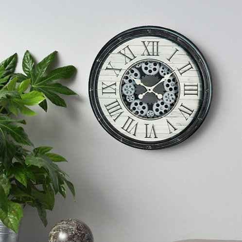 Antique Grey and White Gears Clockwork Wall Clock