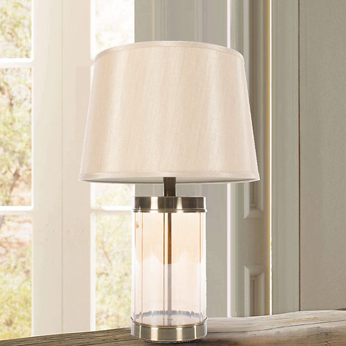 Bronze Fluted Glass Table Lamp and Shade