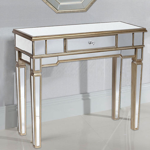 Mirrored Gold Edging Console Table