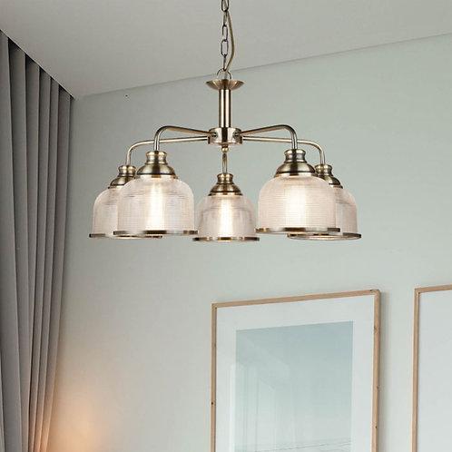 5 Light Pendant with Holophane Glass