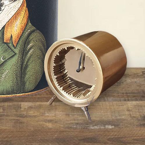 Antique Brass Cog Effect Desk Clock