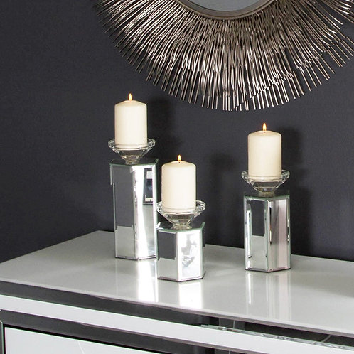 Mirrored Hexagon Candle Holders