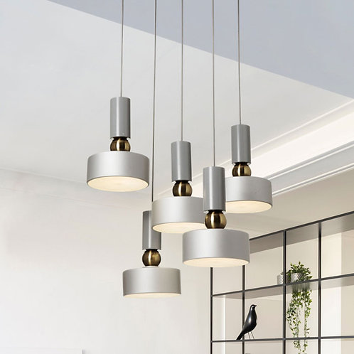 Modern 5 Light Cluster Metal Pendant