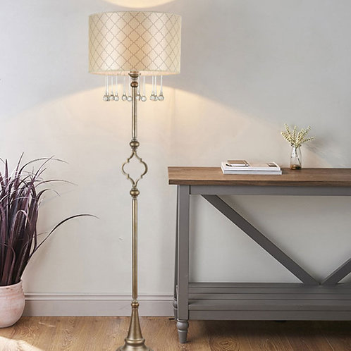Art Deco Floor Lamp with Crystal Effect