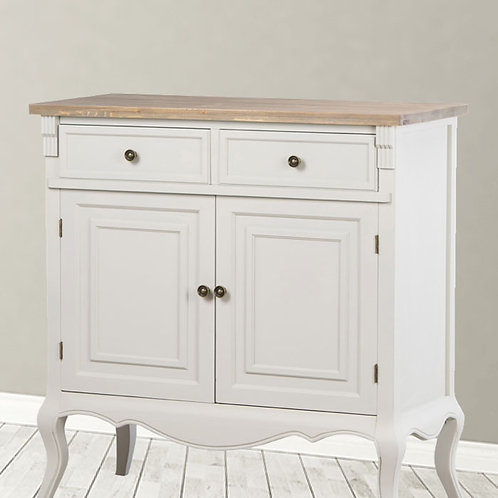 Light Grey Two Drawer Dresser with Wooden Top