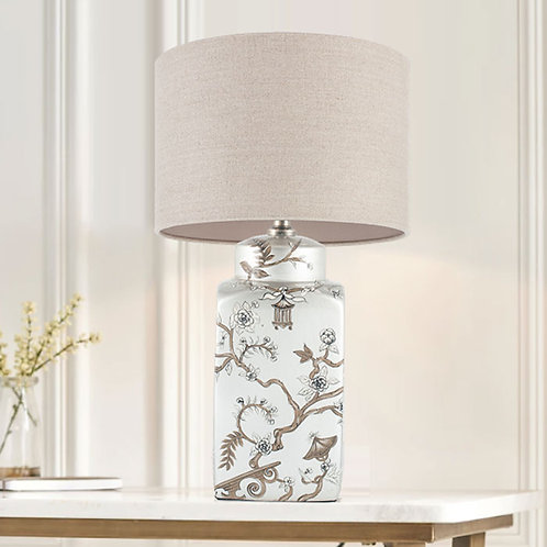 Oriental Silver and Gold Floral Table Lamp