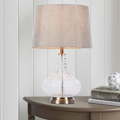Detailed Glass Table Lamp with Charcoal Fabric Shade