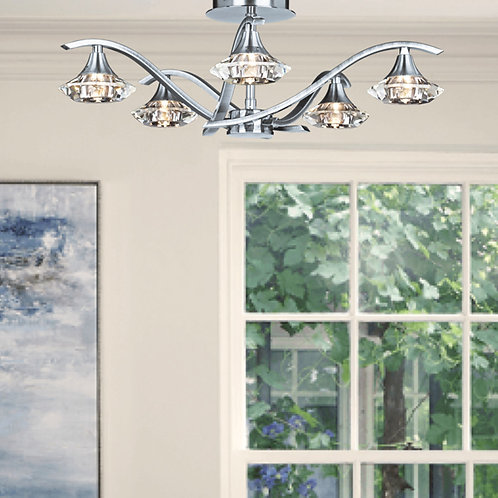 Modern 5-Light Semi-Flush Ceiling Light