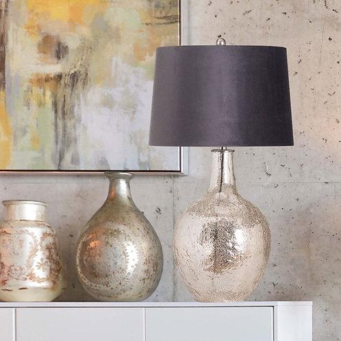 Silver Mottled Table Lamp with Velvet Grey Shade