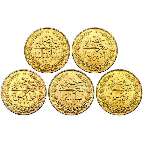 Ottoman, Mehmed V, set of 100 kurush (5), AH 1327, complete mint-visit issue set