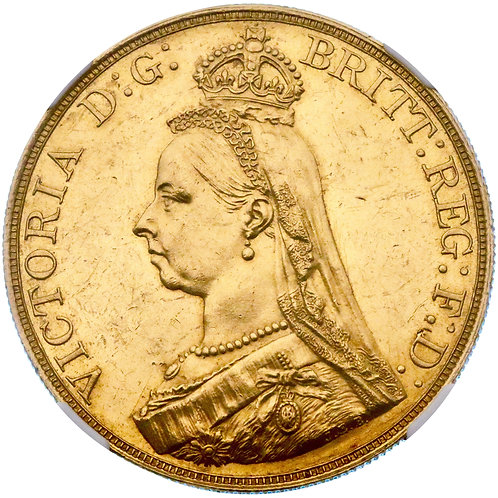 Great Britain, Queen Victoria, 5 pound/sovereign, 1887 CE, NGC MS61