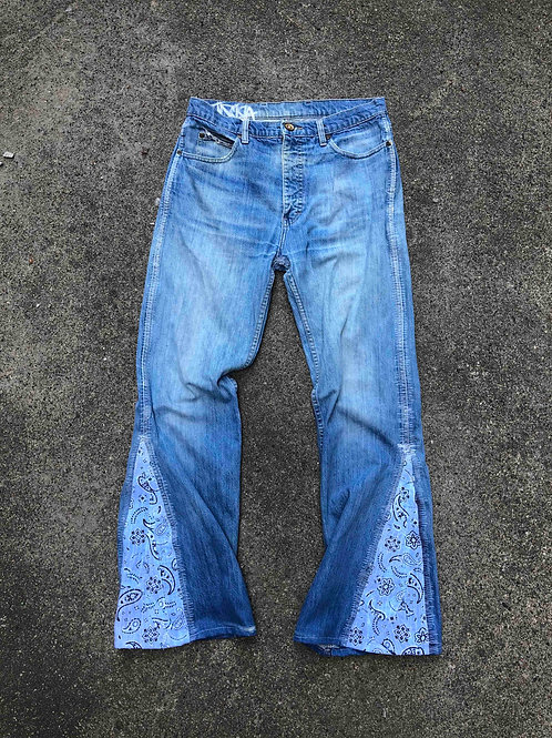 Paisley Flare Denim Faded Blue 34 x 36