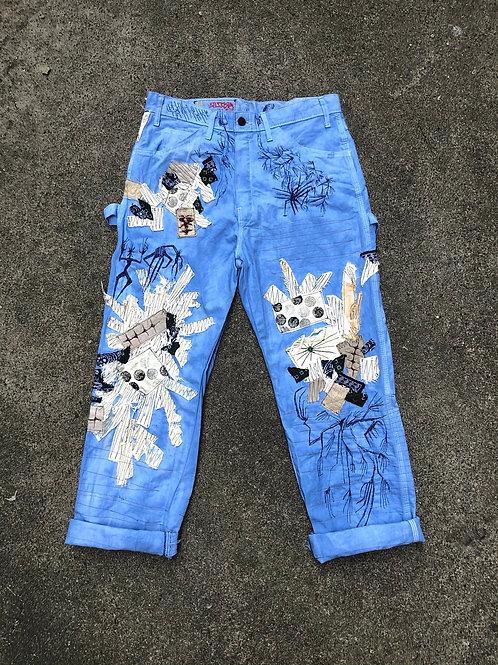 Indigo Patchwork Work Pants