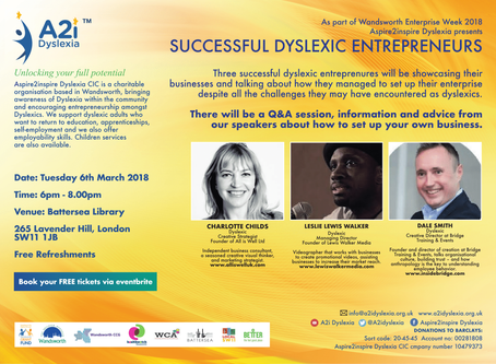 Successful Dyslexic Entrepreneurs  Event 2018