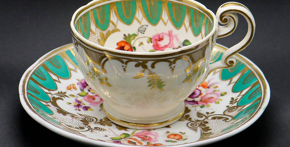 1850s Hand-painted Bone China Tea Set