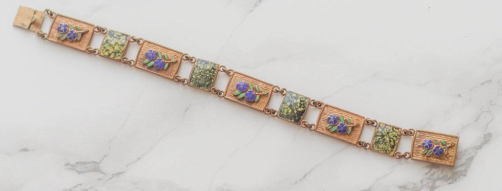 20s Antique Gilt and Enamel Forget-me-not bracelet