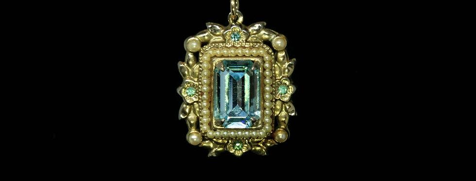 Aquamarine Faceted Glass Baguette Necklace