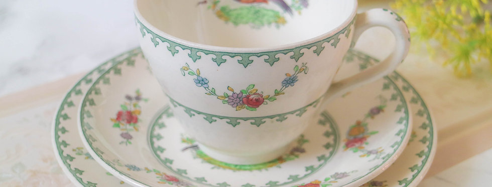 Vintage Spode Vienna Birds Trio Bone China Tea Set