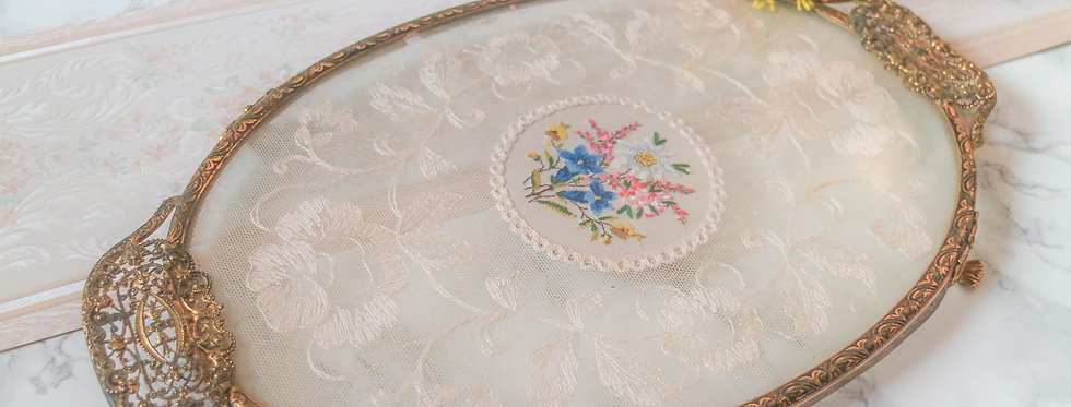 Vintage Petit Point Vanity Tray