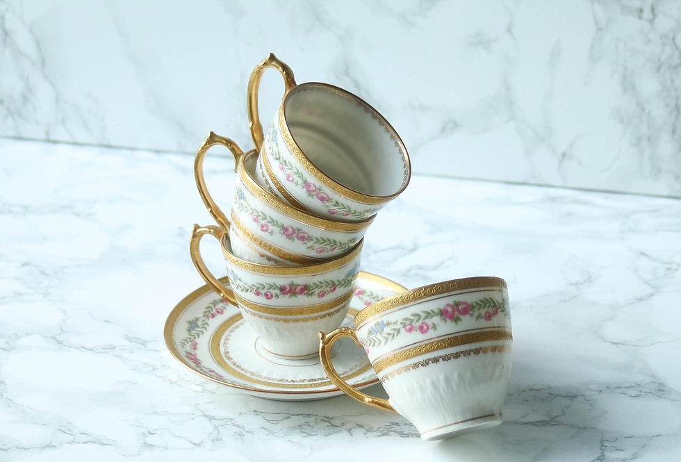 French Vintage Gold Coffee Sets