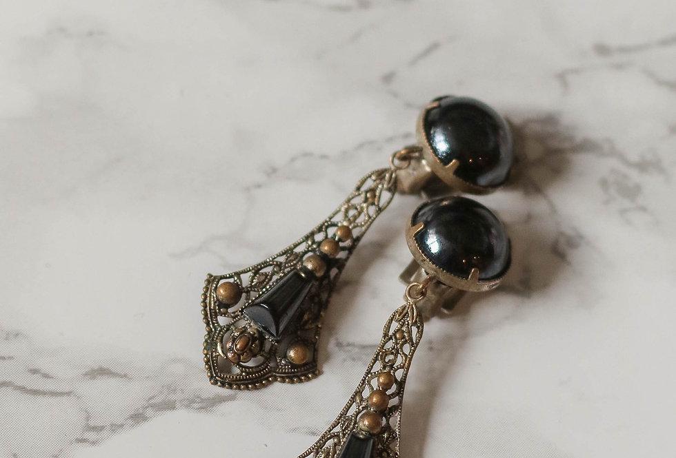 Antique Art Deco Filigree Long Drop Elegant Earrings