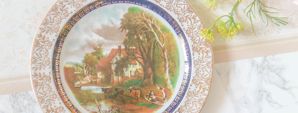 Vintage Wood & Sons Village Scenery Plates