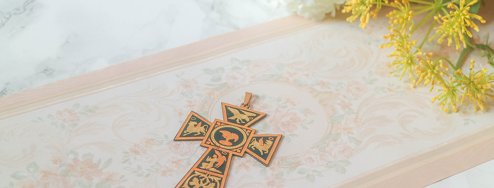 Vintage Toledo Damascening Cross Pendant