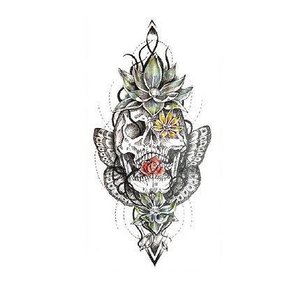 Skull and lotus temp tattoo | גולגולת ולוטוס