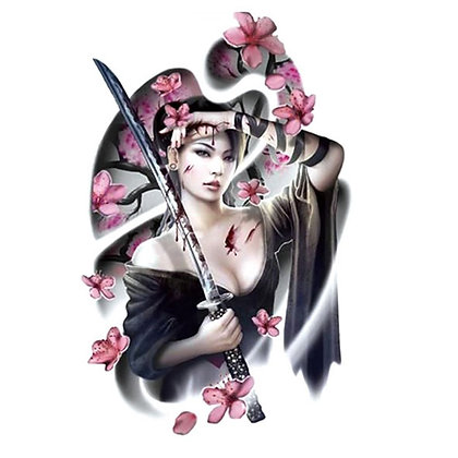 fighter china woman temp tattoo | לוחמת סינית פרחים