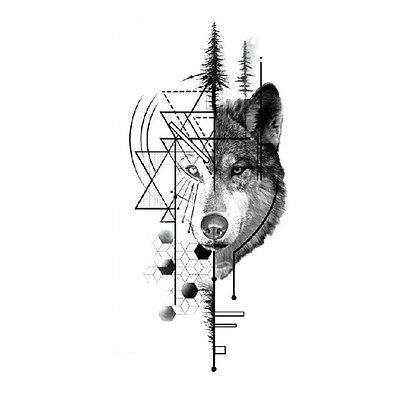 Geometric wolf temp tattoo |זאב גאומטרי