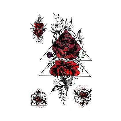 Mix flowers red temp tatto |  קעקוע זמני פרחים משולש