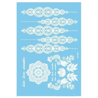 copy of White henna style 5 temp tattoo|  קעקוע חינה לבנה פרחים