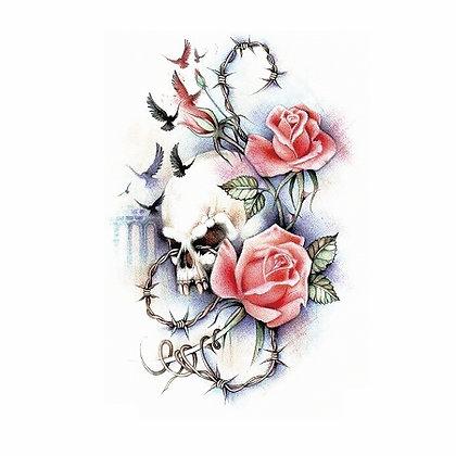 skull  flowers red tattoo| גדר גולגולת ורדים