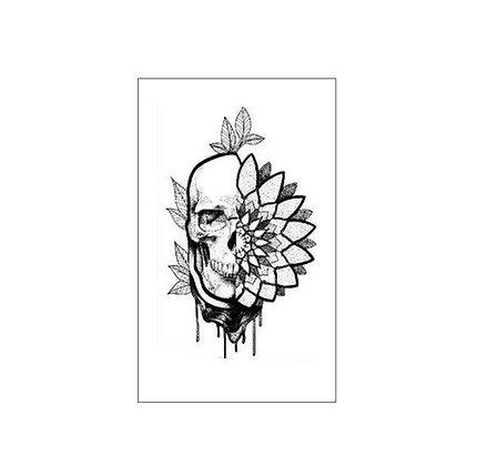 Skull flower tattoo | גולגולת פרח