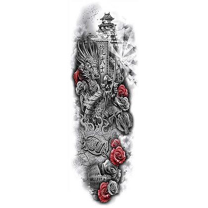 Knights  dragon sleeve tattoo | קעקוע שרוול דרקון אביר לוחם חרב שושנים