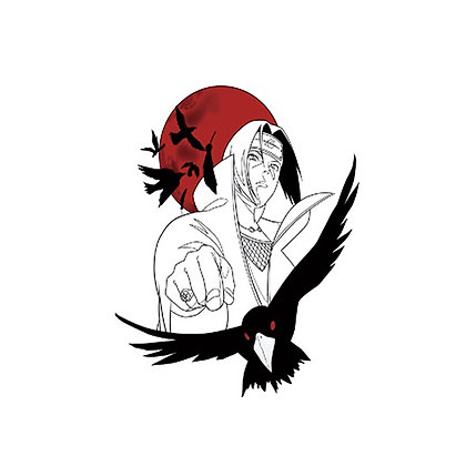 Animeboy bird temporary tattoo | קעקוע זמני אנימה ציפור מנגה